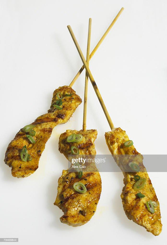 Grilled chicken kebabs skewers : Stock Photo