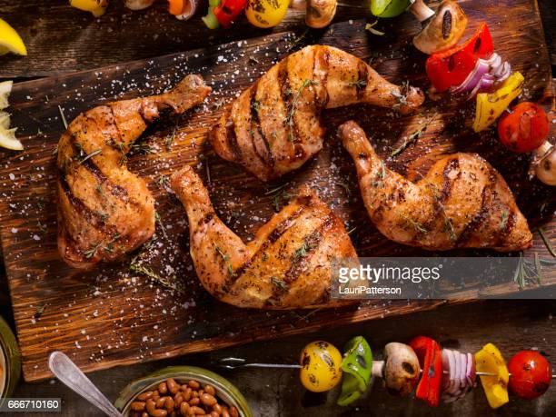 Grilled Chicken Legs With Vegetable Skewers
