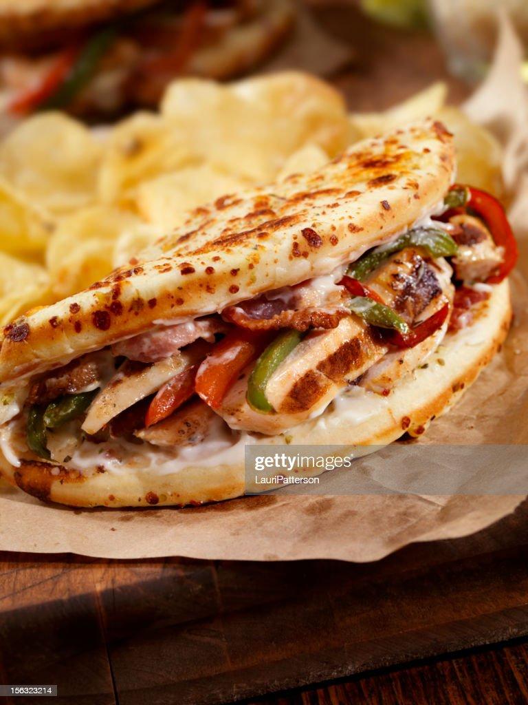 Grilled Chicken Ranch IItalian Fatbread Sandwich : Stock Photo