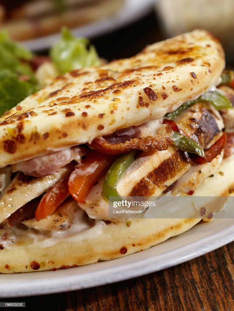 Grilled Chicken Ranch IItalian Fatbread Sandwich : Stock Photo