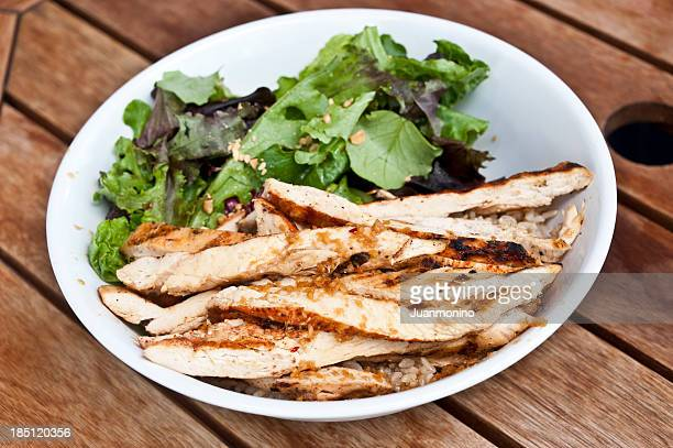 Grilled chicken salad and fried rice