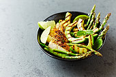 Grilled Chicken Salad with Grilled Avocado and Asparagus