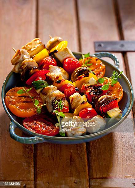 Grilled chicken skewers