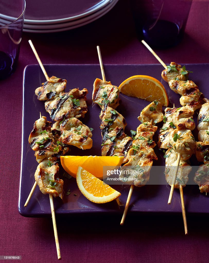 Grilled Chicken Skewers with Orange Slices : Stock Photo