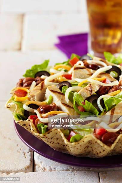 Grilled Chicken Tostada with Soda -Vertical