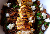 Grilled chicken with puy lentils