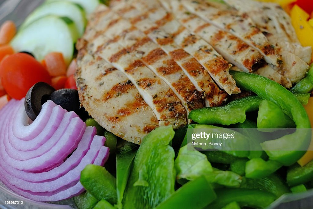 Grilled chicken with salad : Stock Photo