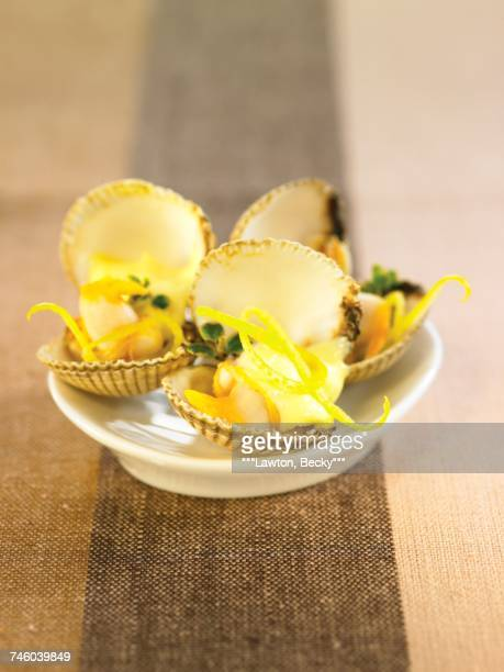Grilled cockles with lemon mousse