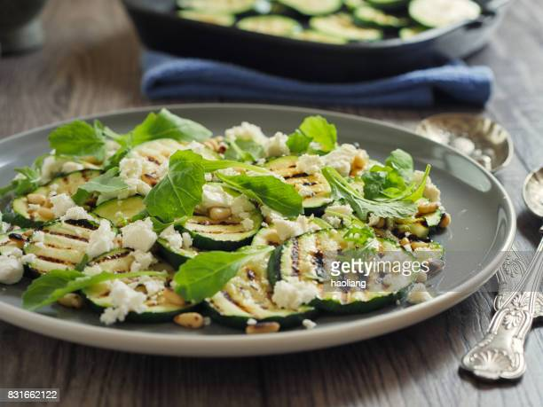 grilled courgette with pine nuts and feta cheese salad