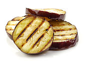 grilled eggplant slices isolated on white background