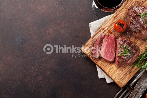 Grilled fillet steak with wine : Stock Photo