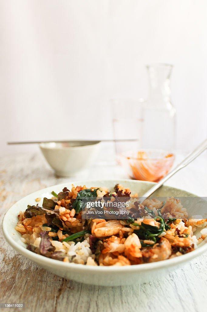 Grilled fish bibimbap (Korean) & Spinach Namul : Stock Photo
