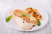 grilled fish fillet and vegetable