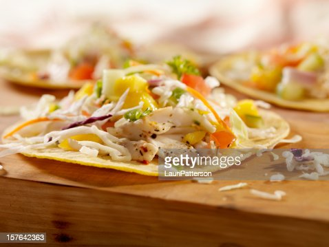 Grilled Fish Tacos with Mango Salsa : Stock Photo