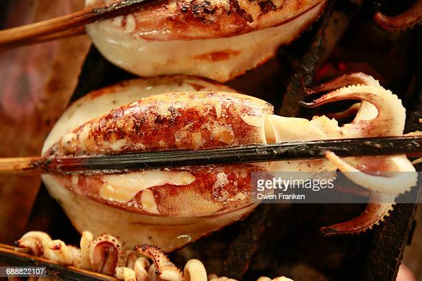 grilled giant squid, street food in Cambodia