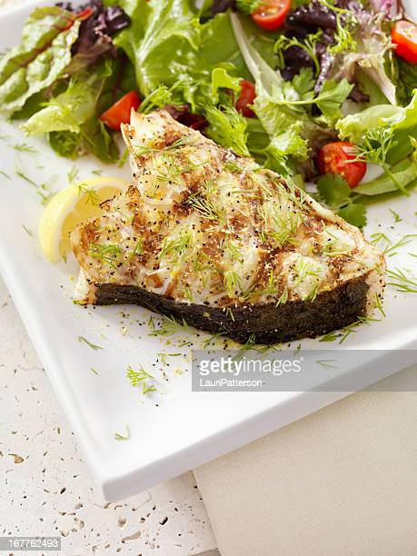 BBQ Grilled Halibut Steak with Fresh Dill