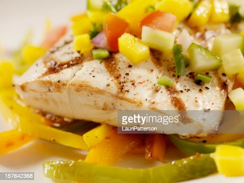 Grilled Halibut with Mango Salsa and Roasted Peppers