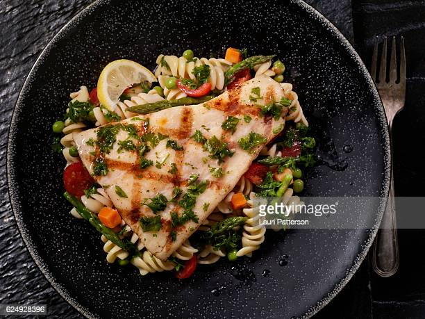Grilled Halibut with Rotini Primavera