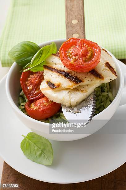 Grilled Haloumi with orzo, basil and tomatoes