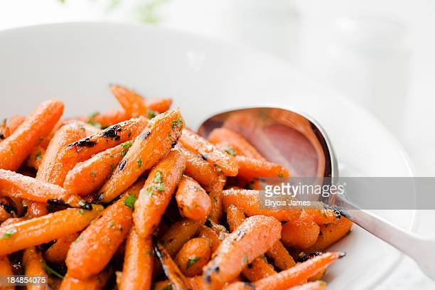 Grilled Honey Glazed Baby Carrots Close Up