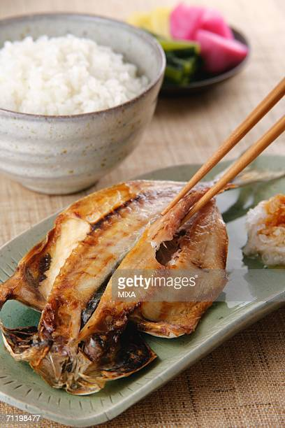 Grilled horse mackerel, close-up