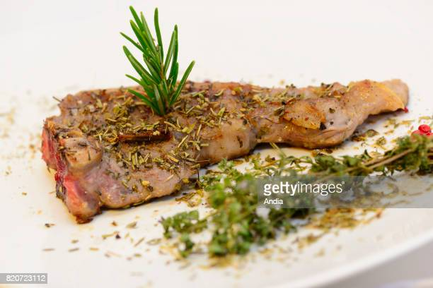 Grilled lamb chop with herbs Meat from local farmers