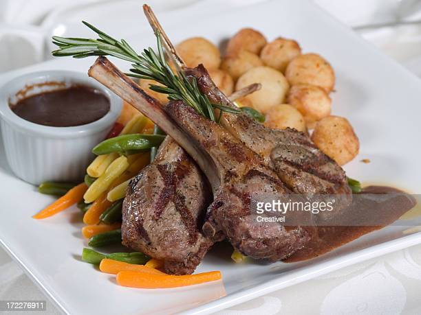 Grilled lamb chops with vegetables and potatoes