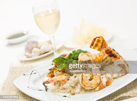 Grilled lobster and prawns risotto