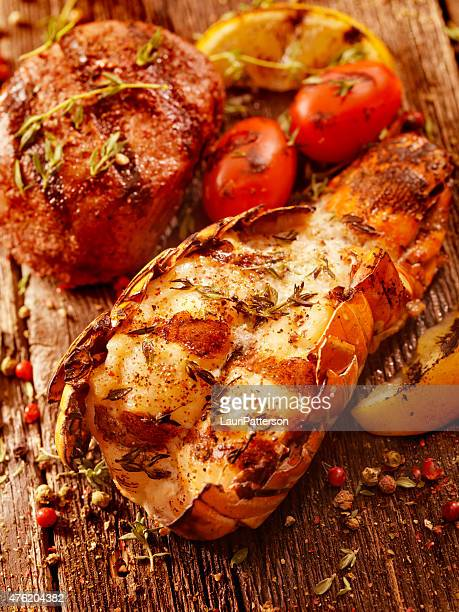 BBQ Grilled Lobster Tail and Steak Fillet