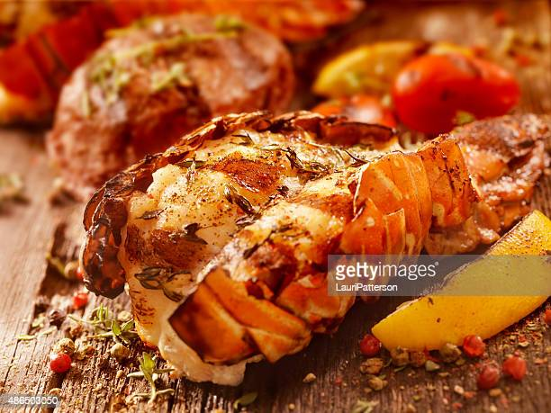 バーベキューロブスターテールのグリルやステーキのフィレ肉