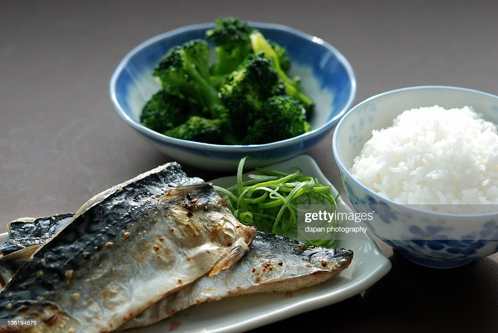 Grilled mackerel with rice : Stock Photo