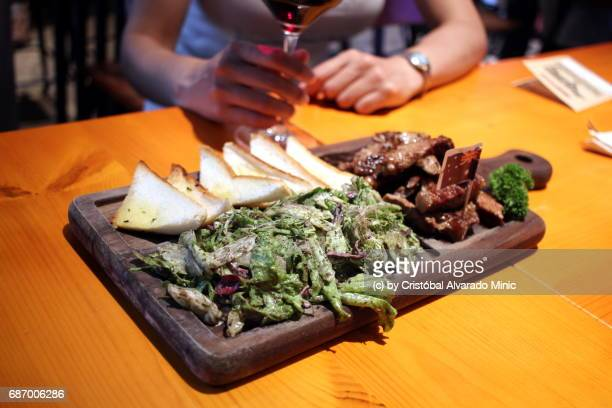 Grilled meat with red wine