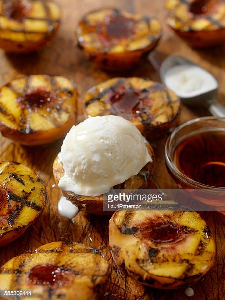 Grilled Peaches with Vanilla Ice Cream and Maple Syrup