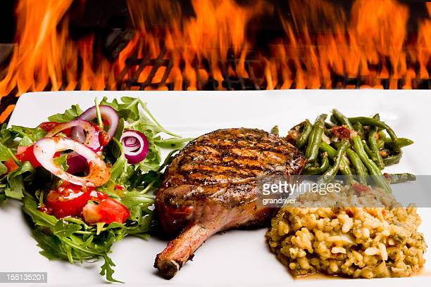 Grilled Pork Chop Dinner with Flames