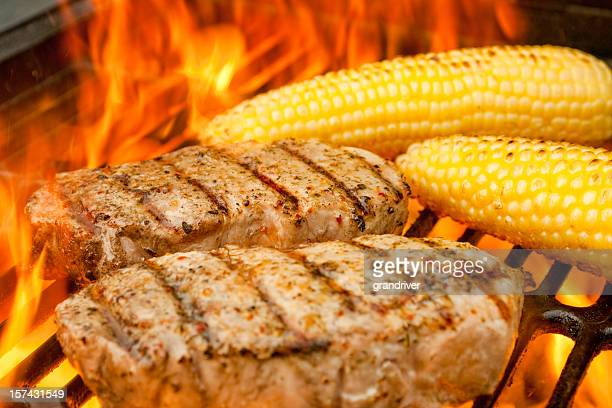 Grilled Pork Chops and Corn in Flames