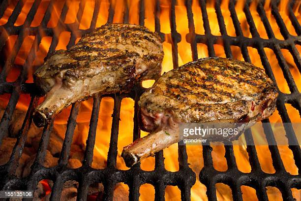 Grilled Pork Chops in Flames