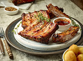 grilled pork ribs on dark plate