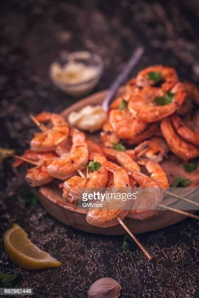 Crevettes crevettes grillées au citron frais