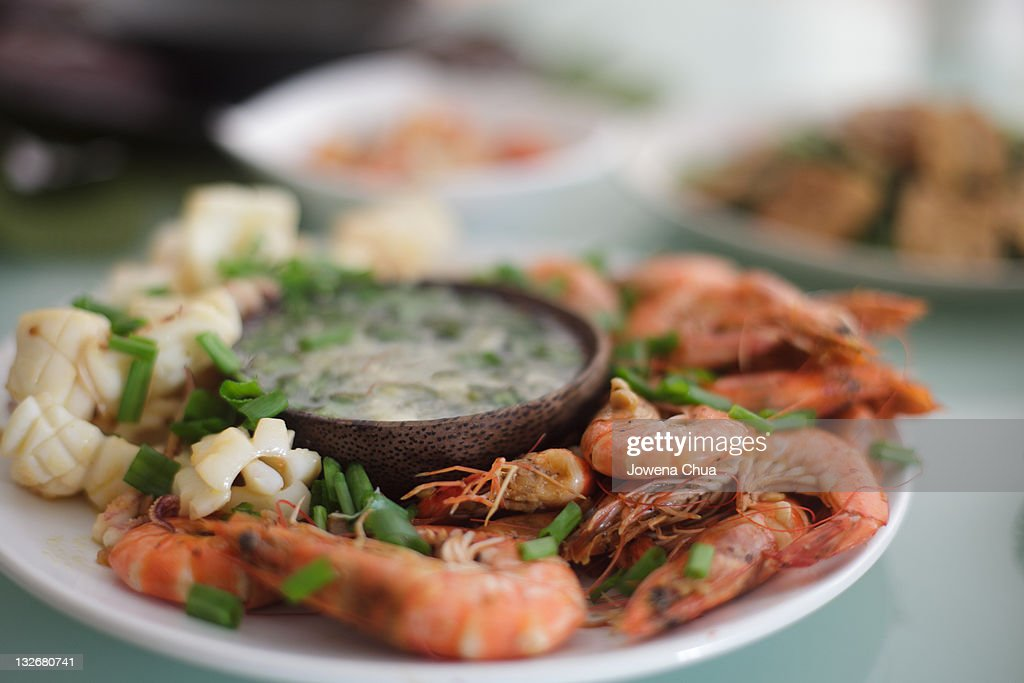 Grilled Prawns and Squid : Stock Photo