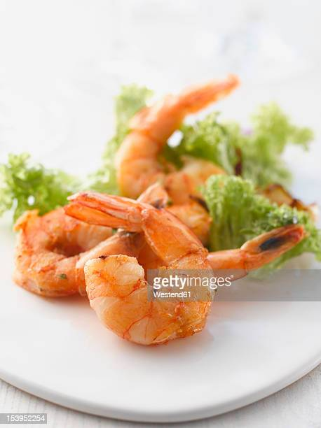 Grilled prawns with salad on plate