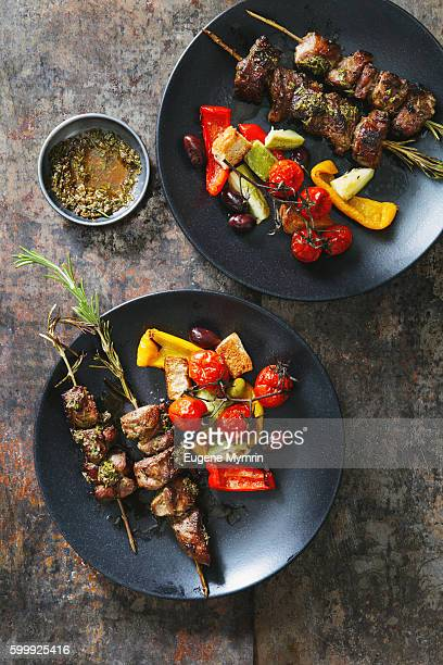 Grilled rosemary pork skewers with vegetables