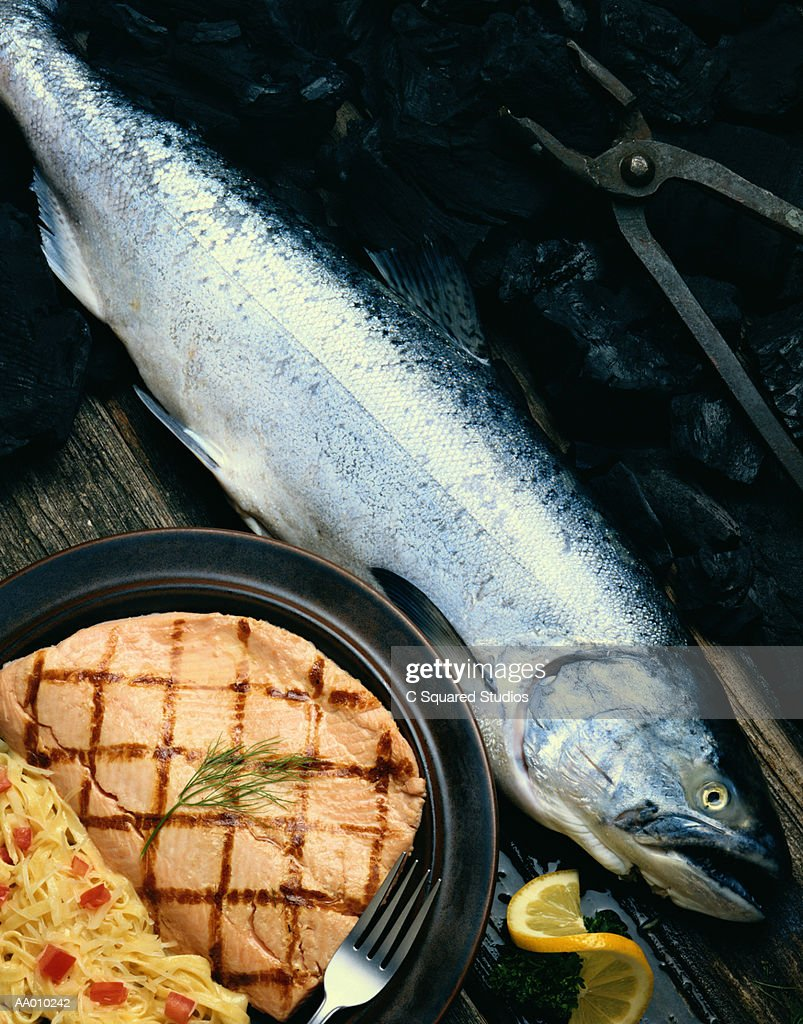 Grilled Salmon and Natural Salmon : Stock Photo