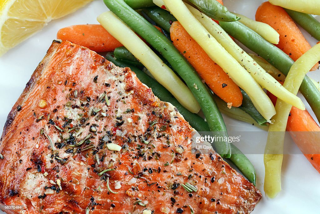 Grilled Salmon Close-Up : Stock Photo