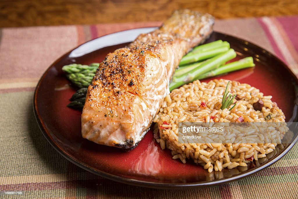 Grilled Salmon Dinner : Stock Photo