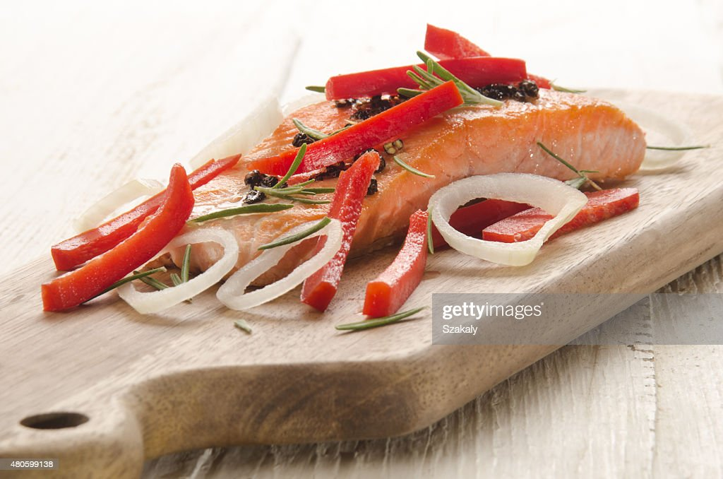 grilled salmon fillet on wooden board : Stock Photo