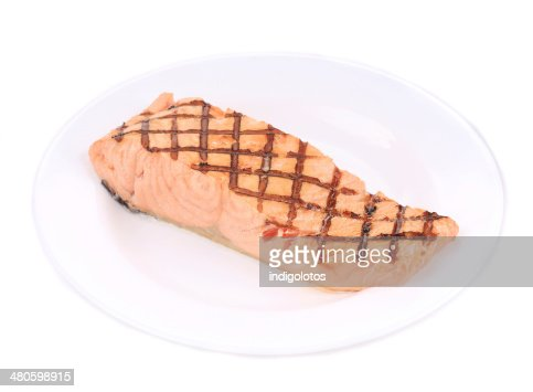 Grilled salmon on the plate. : Stock Photo