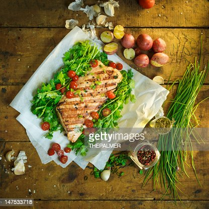 grilled salmon : Stock Photo