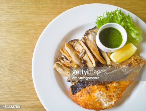 Grilled salmon steak and mushroom : Stock Photo