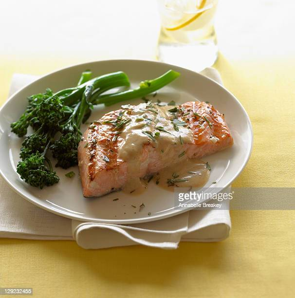 Grilled Salmon with Mustard Wine Sauce