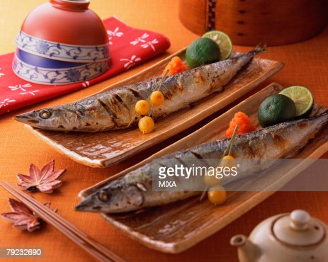 Grilled saury : Stock Photo